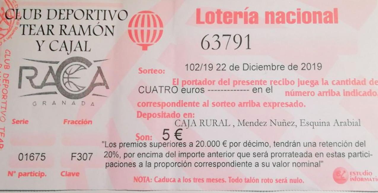 El 63791 es el número con el que el RACA desea repartir suerte esta Navidad