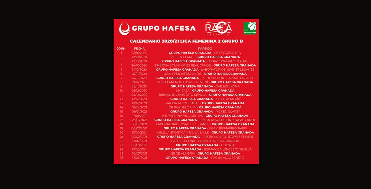 El Hafesa RACA Granada ya conoce su calendario para la temporada 20/21